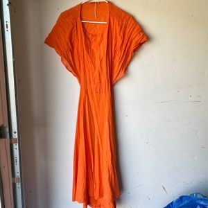 zara orange midi dress nwot open back medium